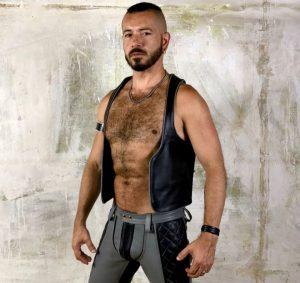 -25% Boxer Barcelona BARMAN Leather Waistcoat | Black & Grey