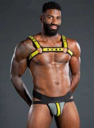 Mr S Leather NEO AIR MESH Jock | Grey & Yellow