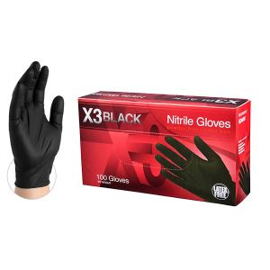 Ammex X3 Industrial Black Nitrile Gloves - 3 mil, Latex Free, Powder Free, Textured, Disposable, Medium, BX344100-BX, Box of 100