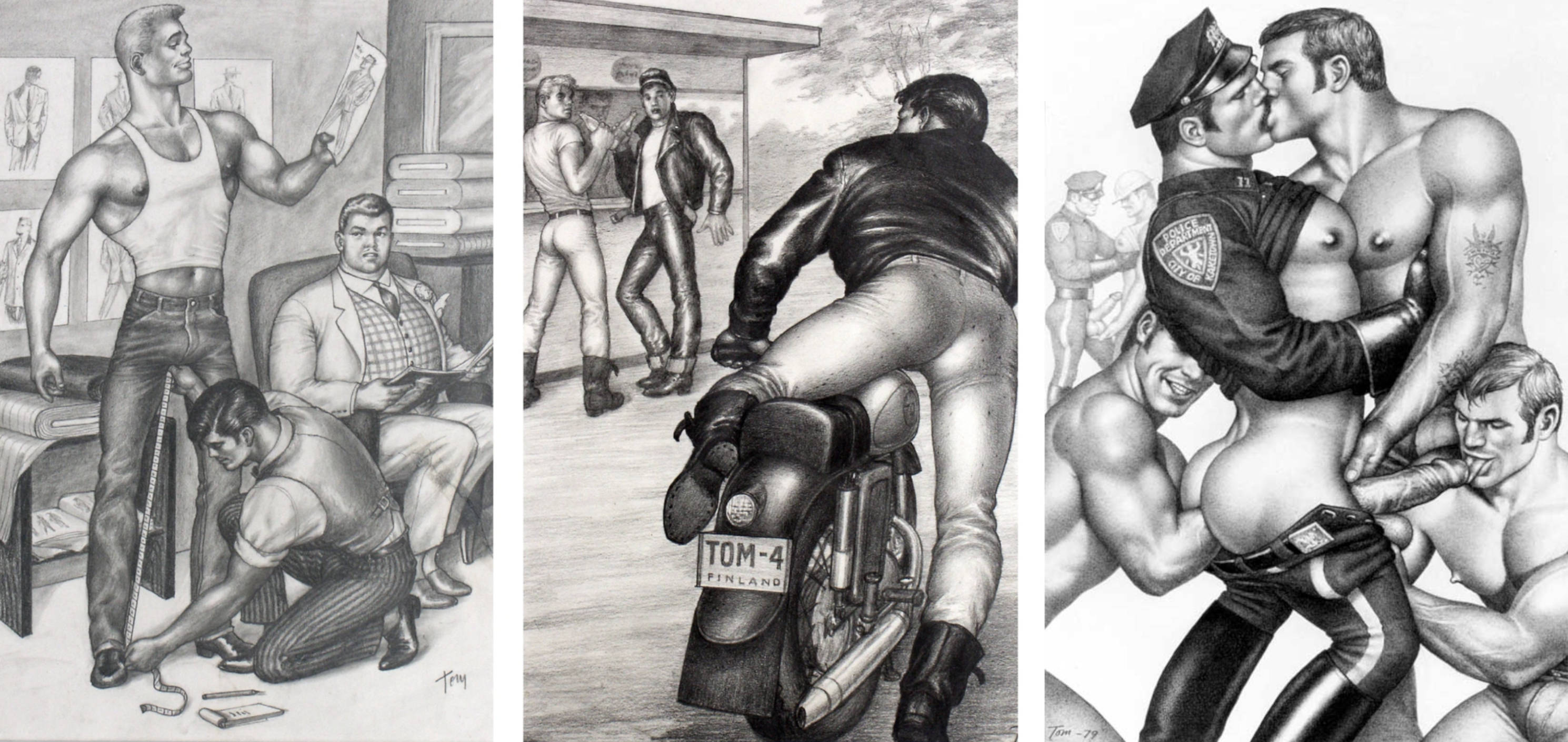 """Tom of Finland fisting LEFT: TOM OF FINLAND, UNTITLED, 1959. RIGHT: TOM OF FINLAND, UNTITLED (FROM """"MOTORCYCLE THIEF"""" SERIES), 1964. COURTESY OF TOM OF FINLAND FOUNDATION AND DAVID KORDANSKY GALLERY, LOS ANGELES, CALIFORNIA."""