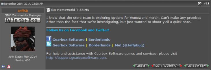 Homeworld Merchandise Gearbox Post