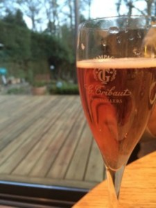 Finishing my healthy week with a glass of pink champagne