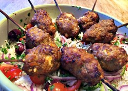 Spicy-lamb-&-feta-skewers-with-greek-brown-rice-salad