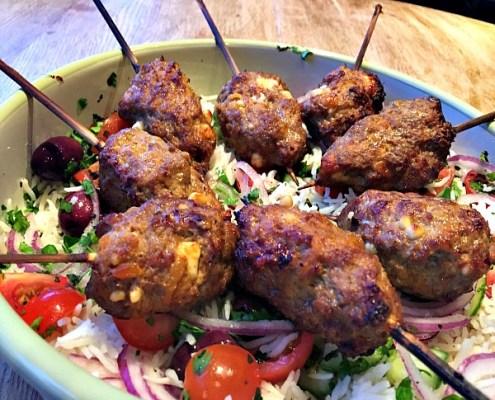 Spicy-lamb-&-feta-skewers-with-greek-brown-rice-salad