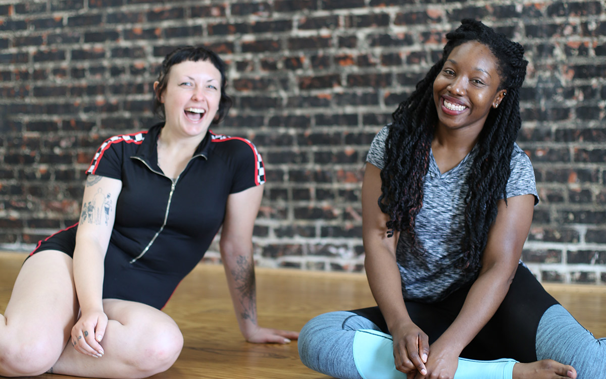 Fit & Bendy Question and Answer Two Women Laughing Fitness Studio
