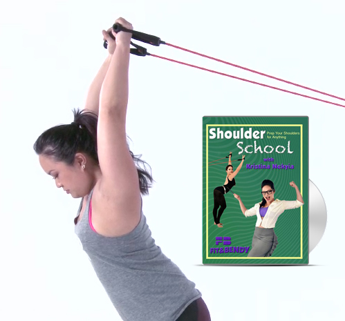 Shoulder School Fit and Bendy Woman Stretching Resistance Tube