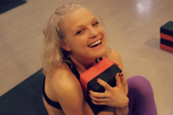Woman Laughing Fit and Bendy Fitness Stretch
