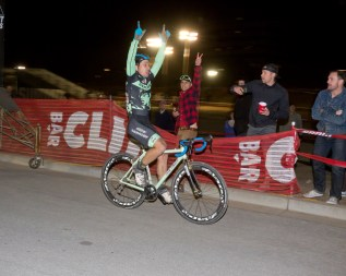 An Elated Judelson after winning the Sierra Point Night Race