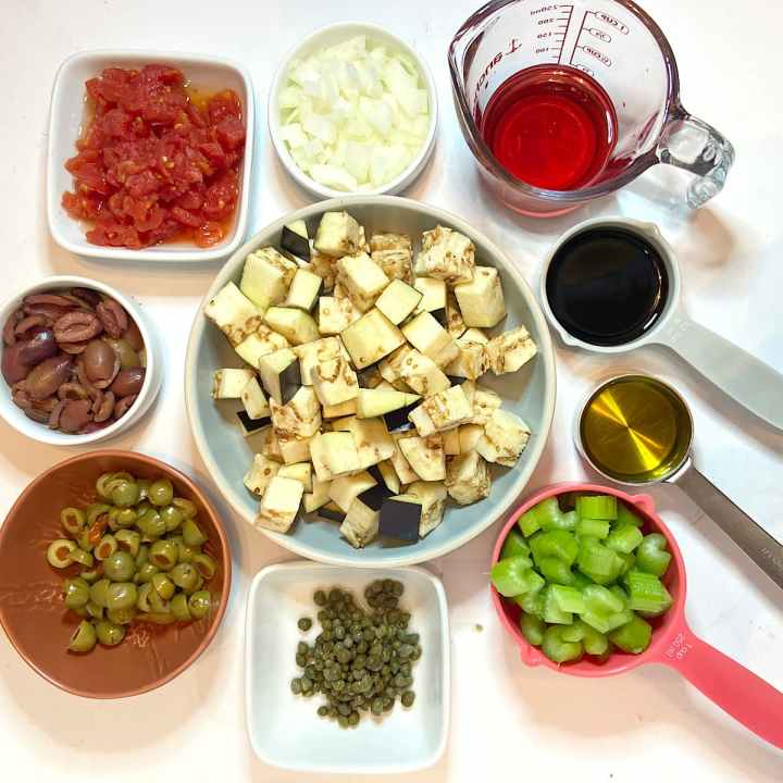 spread of measured ingredients for eggplant caponata