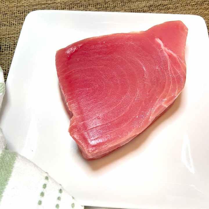 yellowfin tuna steak on plate