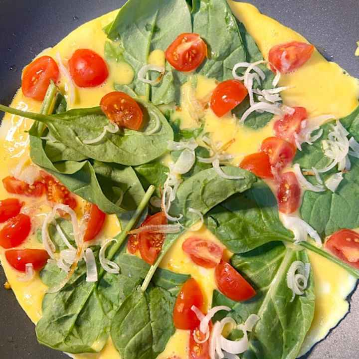 Colorful vegetables made a healthy omelet