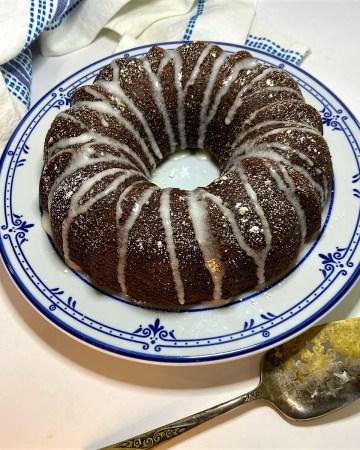 pumpkin cake with glaze on plate