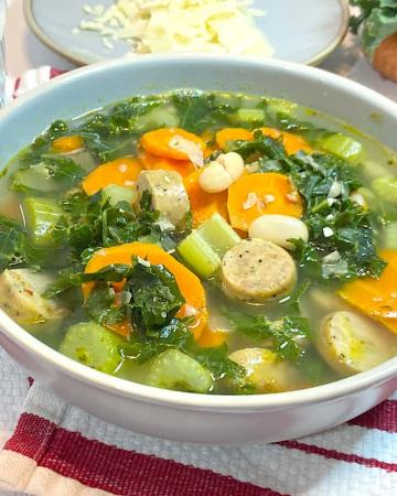 Simple white bean, chicken sausage, and kale soup
