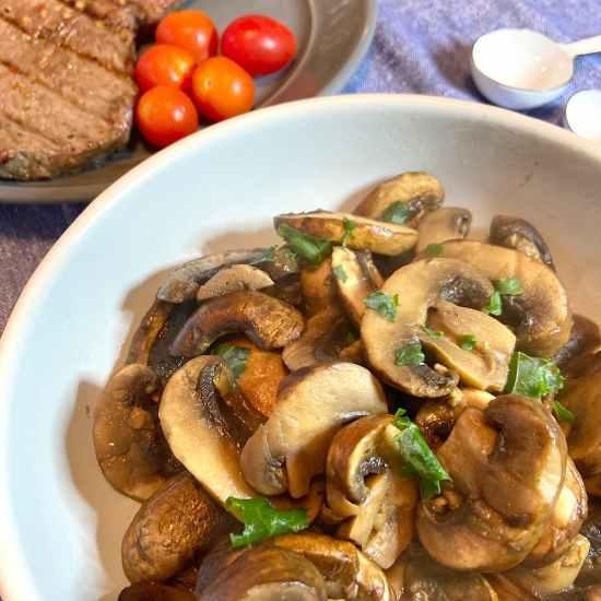 closeup of sauteed mushrooms