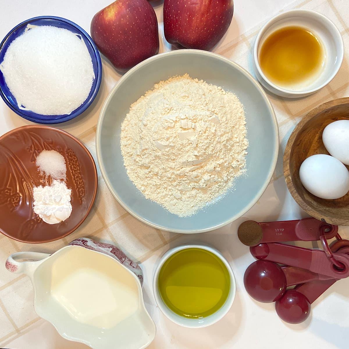 spread of measured apple cake ingredients