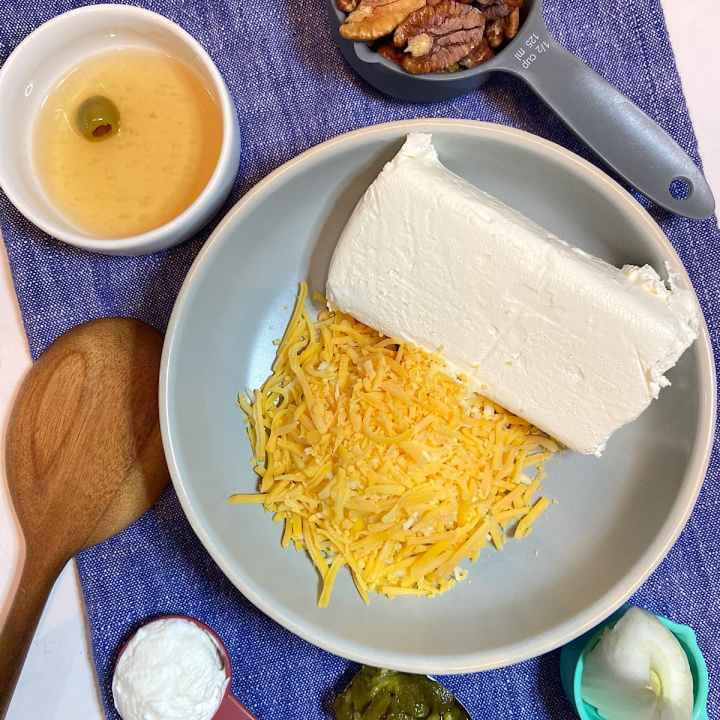 Spread of measured cheese ball ingredients