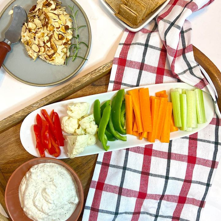 dill dip, cut veggies, and other appetizers