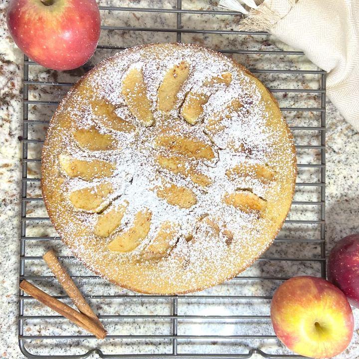 easy apple cake on rack cooling