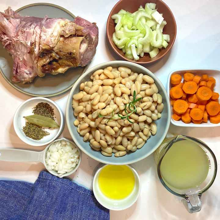 spread of measured ingredients for ham and bean soup recipe