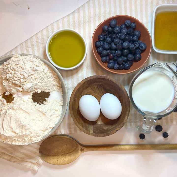 Spread of measured blueberry muffin ingredients