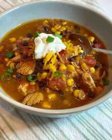 corn, black bean, and beef chili recipe in bowl