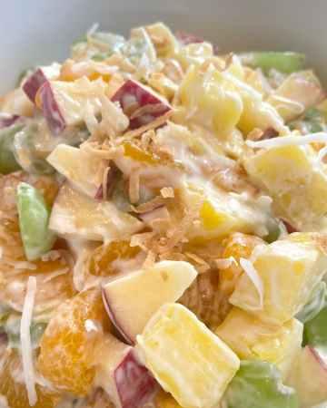 close up of ambrosia salad