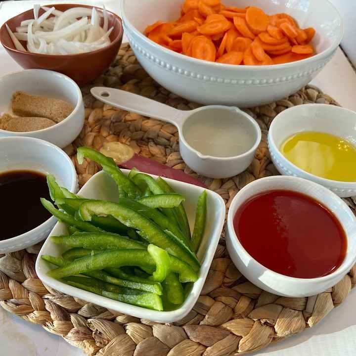 spread of measured salad ingredients