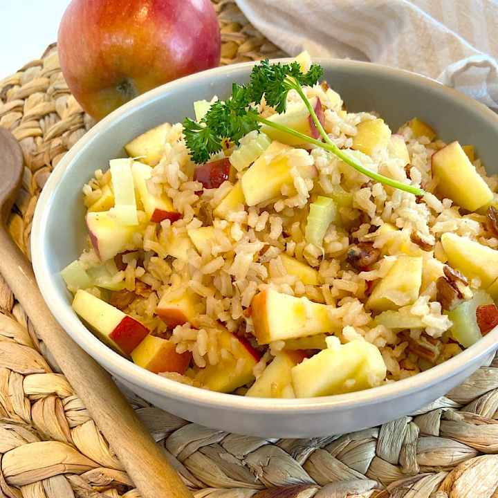 bowl of apple and rice pilaf
