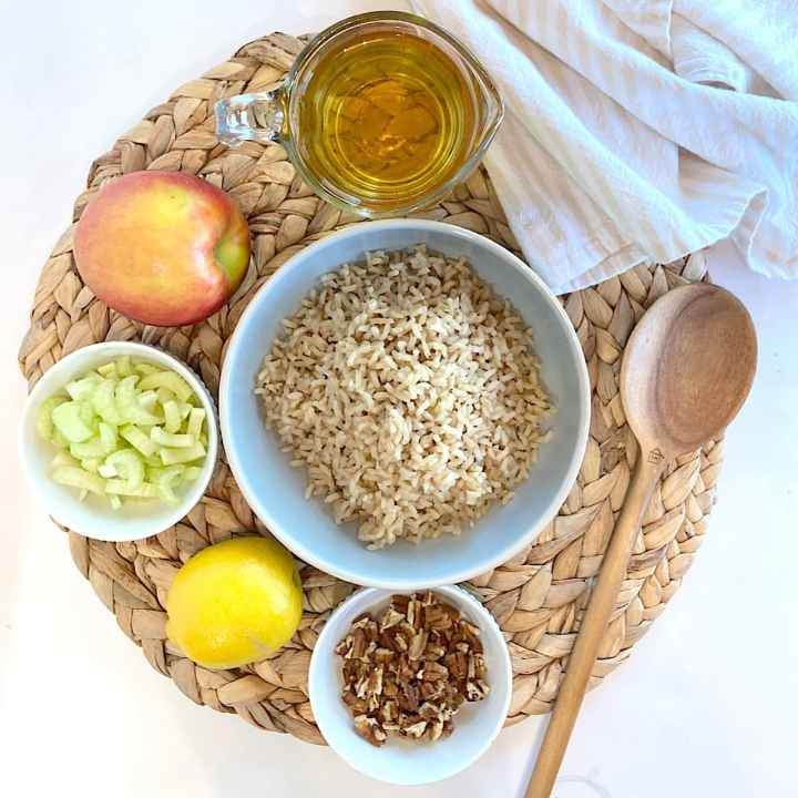 spread of measured rice pilaf ingredients