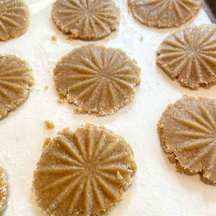 Pressed spice cookies ready to bake