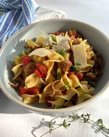 easy goulash with turkey and egg noodles in bowl