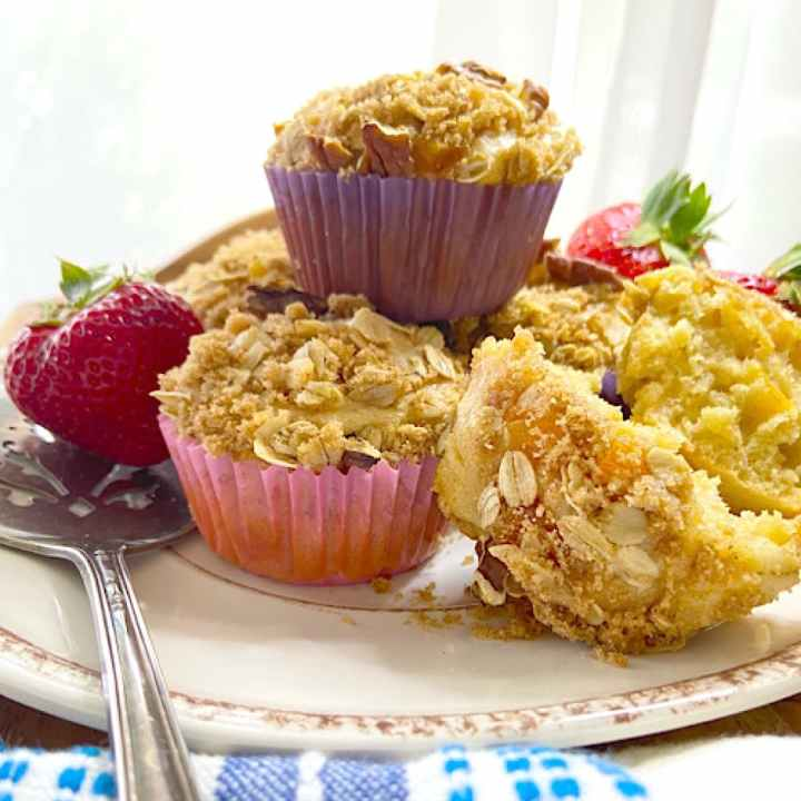a stack of oat muffins on a plate