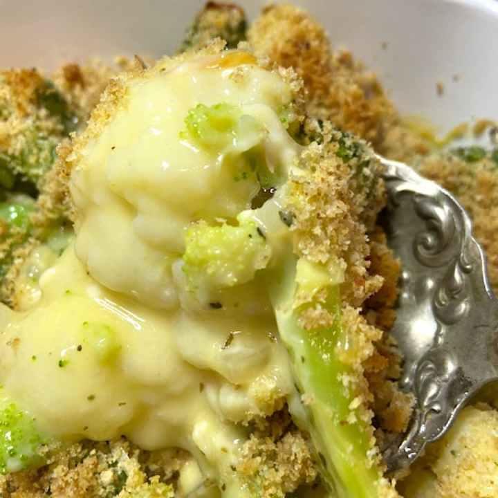 creamy cauliflower and broccoli with cheese sauce