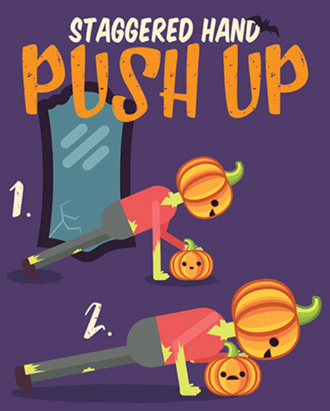 Halloween Workout - Staggered Hand Push Up Exercise