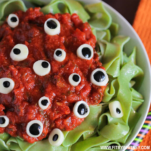 Healthy Halloween Treats - Eyeball Party Pasta
