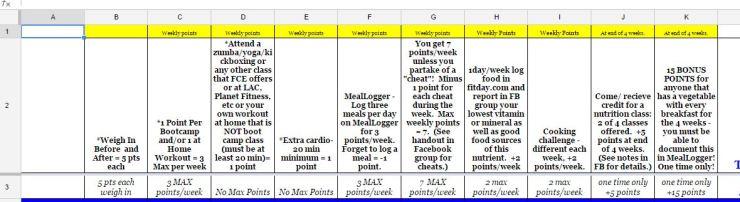 challenge spreadsheet