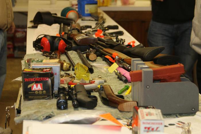 Closeup of firearms