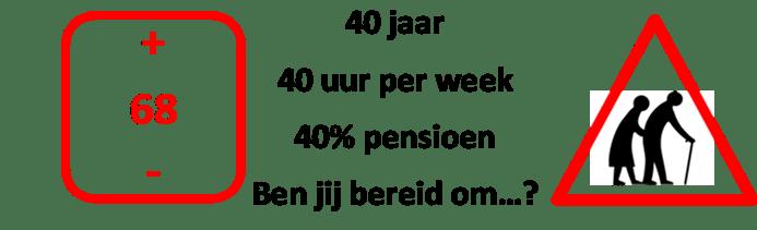 40 jaar, 40 uur per week werken om 40% pensioen over te houden, klinkt niet fijn! Ben jij dan bereid om...?