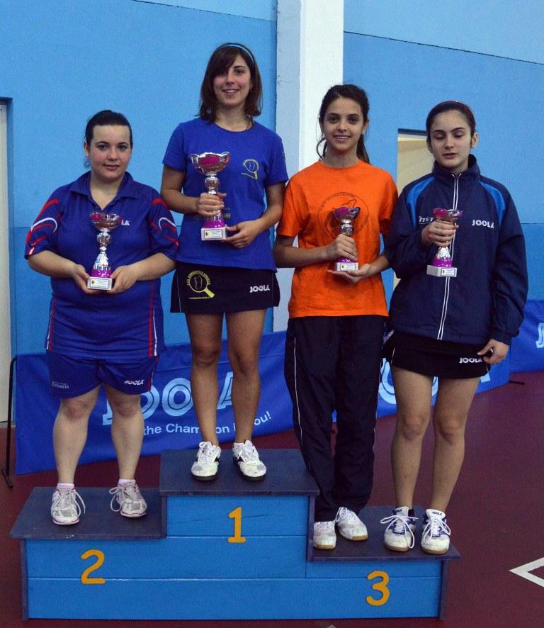 Il podio femminile dell'Open di Muravera (Foto Luciano Saiu)