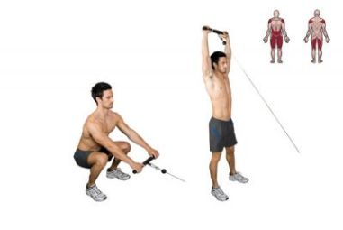 cable squats variations- Cable squat to overhead raises.