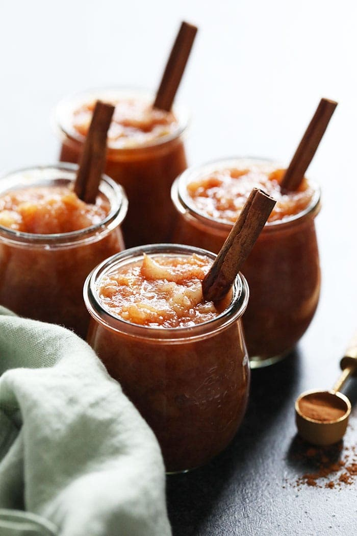 Cinnamon crockpot applesauce in glasses