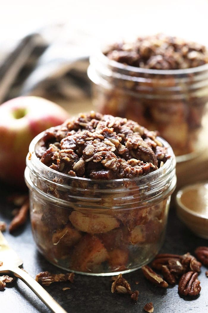 Fertiger Instant Pot Apple Crisp in einem Einmachglas