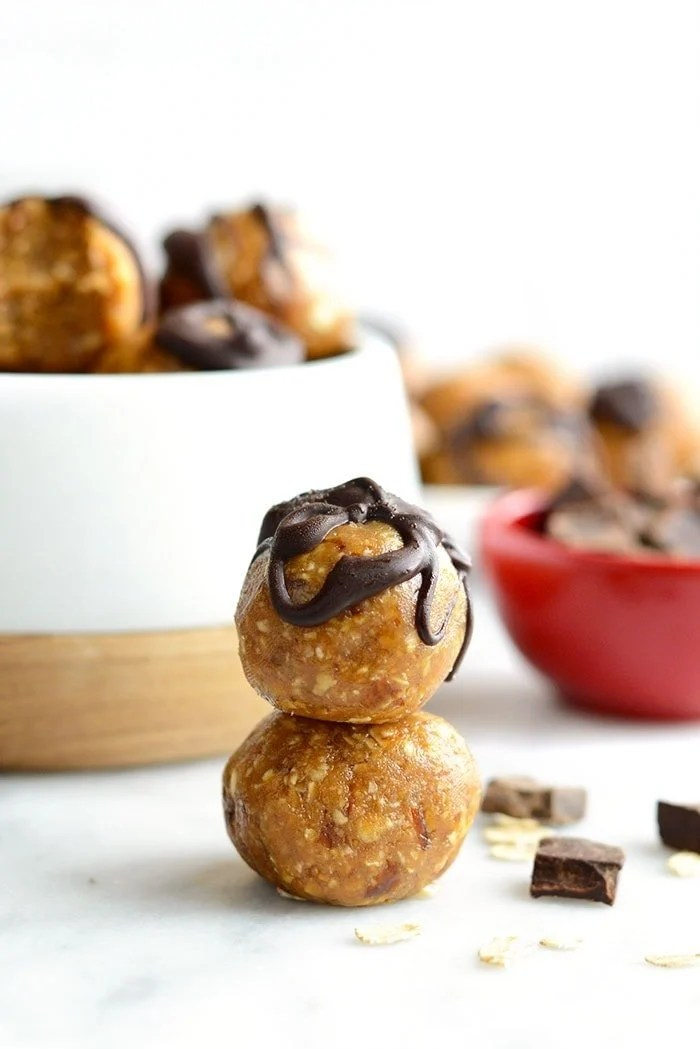 Stacked peanut butter energy balls