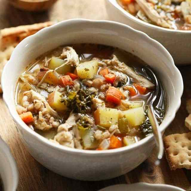 Tuscan Turkey Soup in bowl