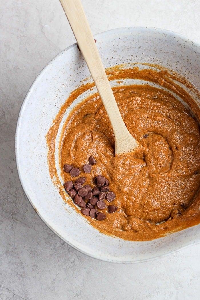 healthy pumpkin bread ingredients in a bowl