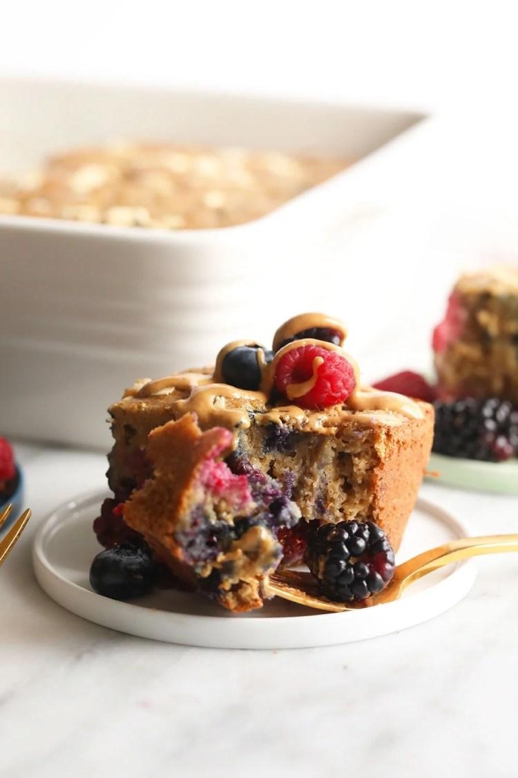 Triple berry breakfast bread on a plate
