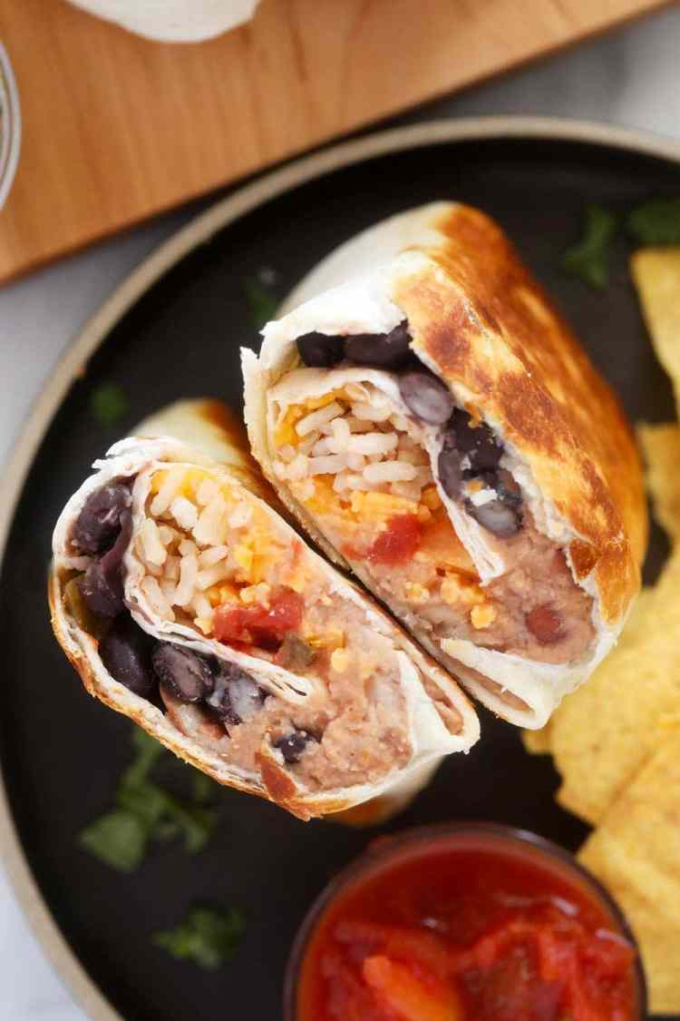 bean burrito on plate