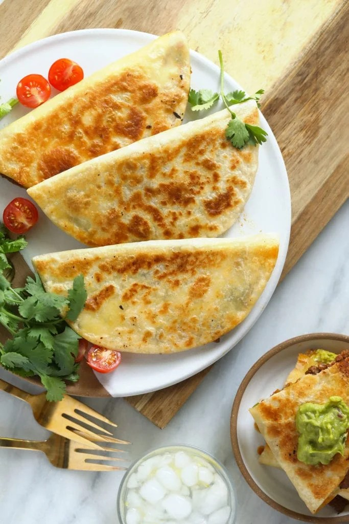 Chicken quesadillas on a plate ready to serve