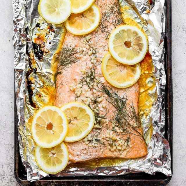 baked salmon in baking sheet