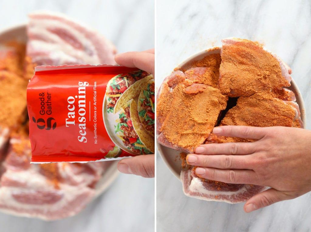 taco seasoning rubbed on porl